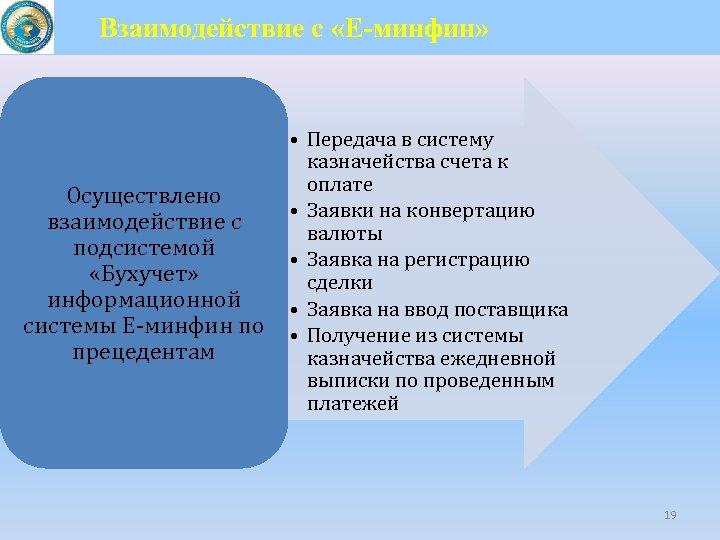 Взаимодействие с «Е-минфин» Осуществлено взаимодействие с подсистемой «Бухучет» информационной системы Е-минфин по прецедентам •