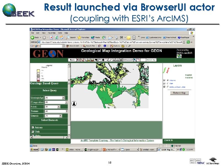 Result launched via Browser. UI actor (coupling with ESRI's Arc. IMS) SEEK Overview, 3/2004