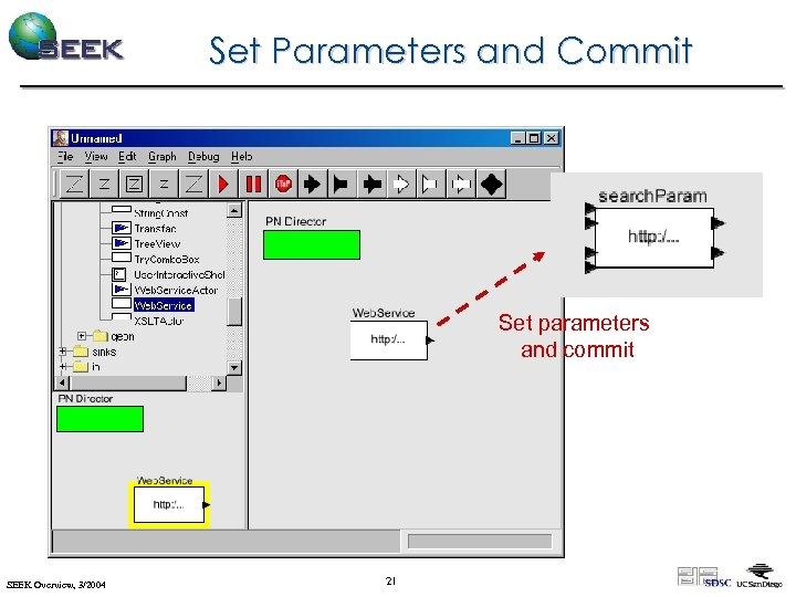 Set Parameters and Commit Set parameters and commit SEEK Overview, 3/2004 21