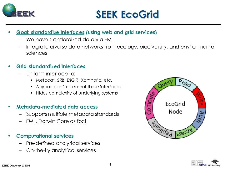 SEEK Eco. Grid • Goal: standardize interfaces (using web and grid services) – We