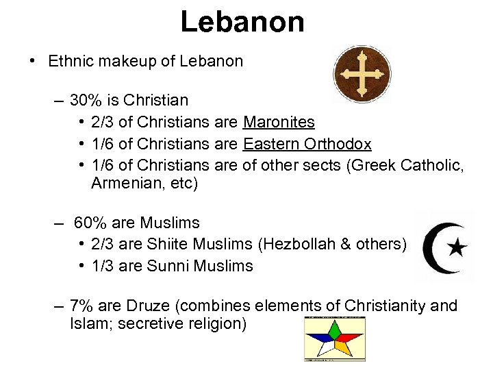 Lebanon • Ethnic makeup of Lebanon – 30% is Christian • 2/3 of Christians