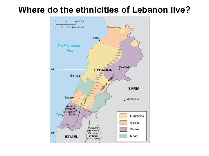 Where do the ethnicities of Lebanon live?