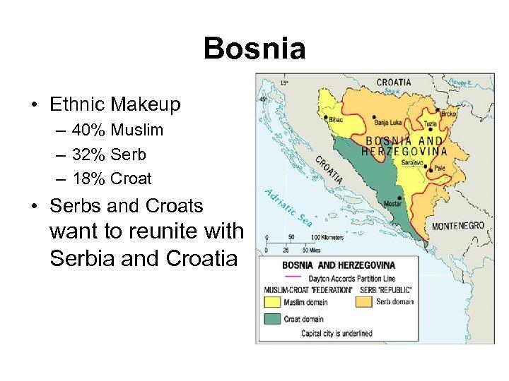 Bosnia • Ethnic Makeup – 40% Muslim – 32% Serb – 18% Croat •