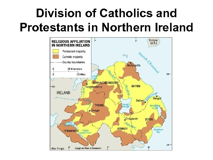 Division of Catholics and Protestants in Northern Ireland