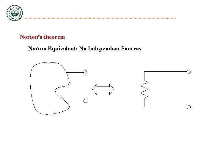 Norton's theorem Norton Equivalent: No Independent Sources