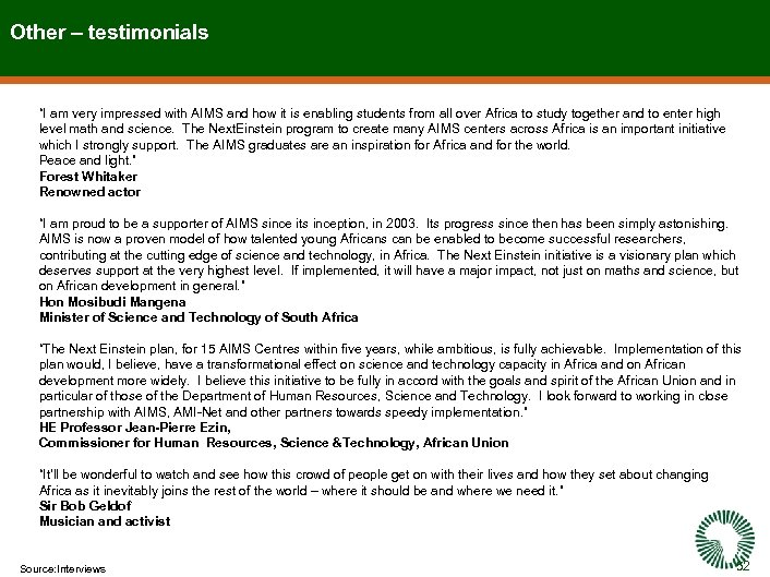 """Other – testimonials """"I am very impressed with AIMS and how it is enabling"""