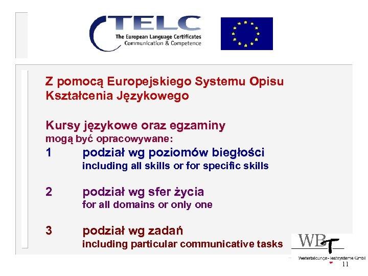 Z pomocą Europejskiego Systemu Opisu Kształcenia Językowego Kursy językowe oraz egzaminy mogą być opracowywane:
