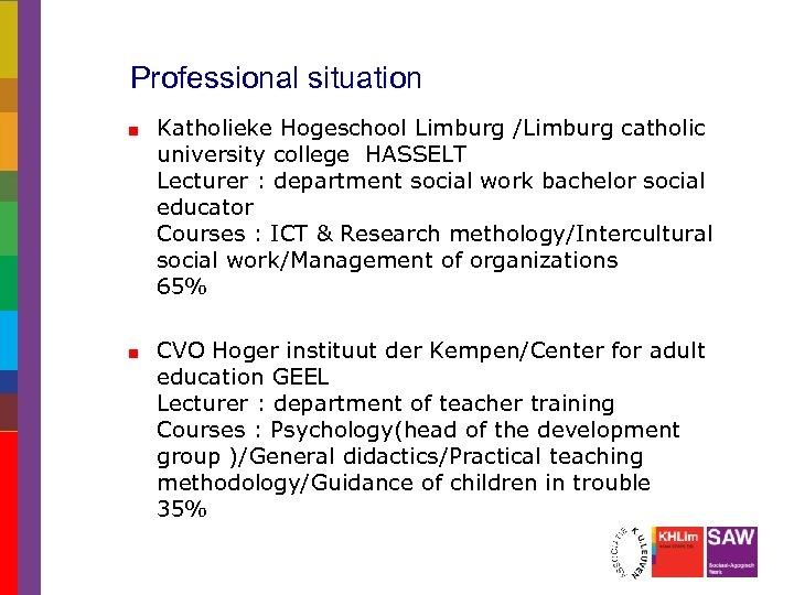 Professional situation Katholieke Hogeschool Limburg /Limburg catholic university college HASSELT Lecturer : department social