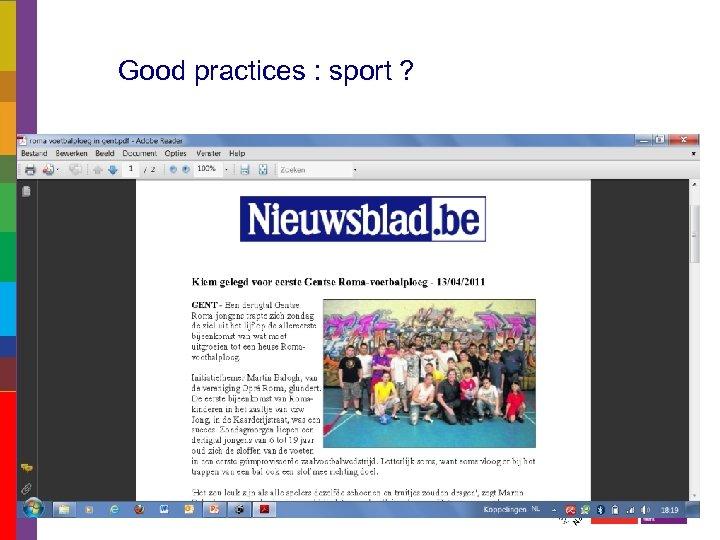 Good practices : sport ?