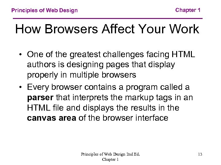 Chapter 1 Principles of Web Design How Browsers Affect Your Work • One of