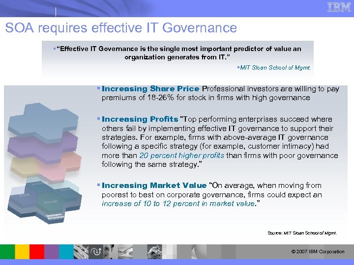 "SOA requires effective IT Governance §""Effective IT Governance is the single most important predictor"