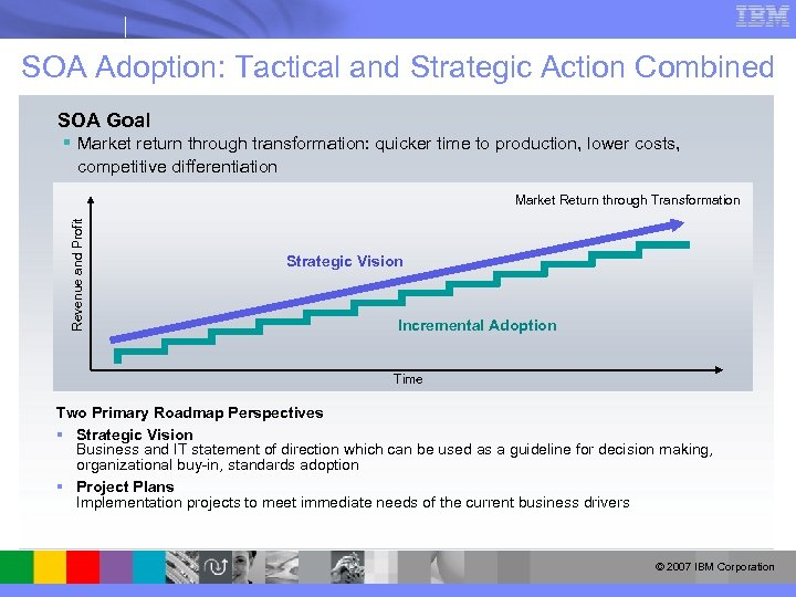 SOA Adoption: Tactical and Strategic Action Combined SOA Goal § Market return through transformation: