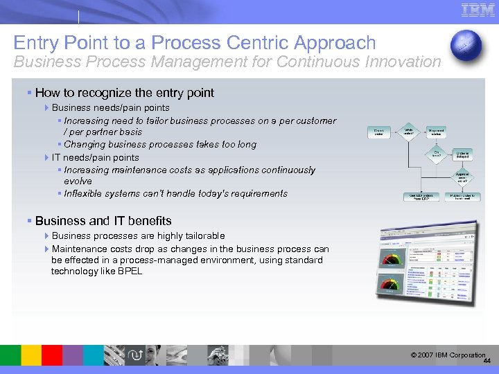 Entry Point to a Process Centric Approach Business Process Management for Continuous Innovation §