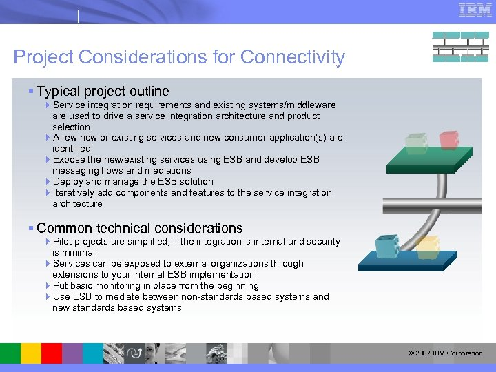 Project Considerations for Connectivity § Typical project outline 4 Service integration requirements and existing