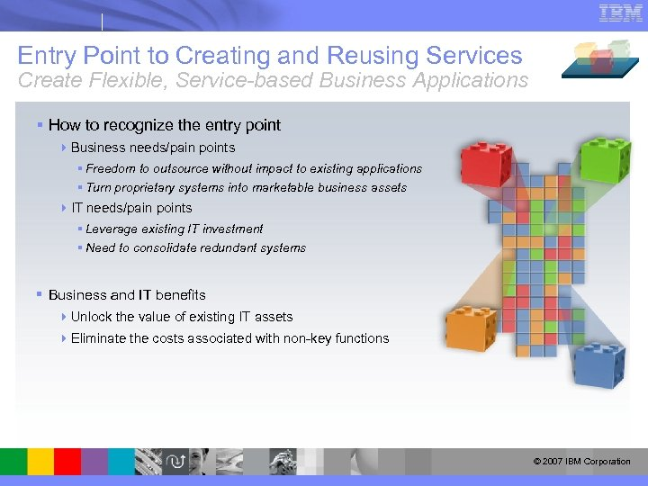 Entry Point to Creating and Reusing Services Create Flexible, Service-based Business Applications § How