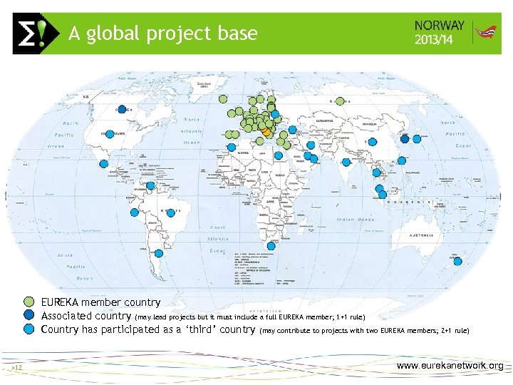 A global project base > 12 EUREKA member country Associated country (may lead projects