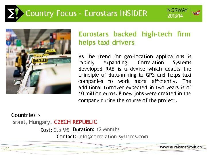 Country Focus - Eurostars INSIDER > 17 Eurostars backed high-tech firm helps taxi drivers