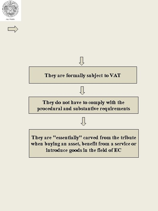They are formally subject to VAT They do not have to comply with the