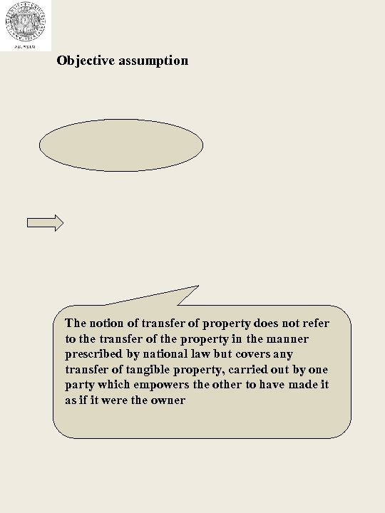 Objective assumption The notion of transfer of property does not refer to the transfer