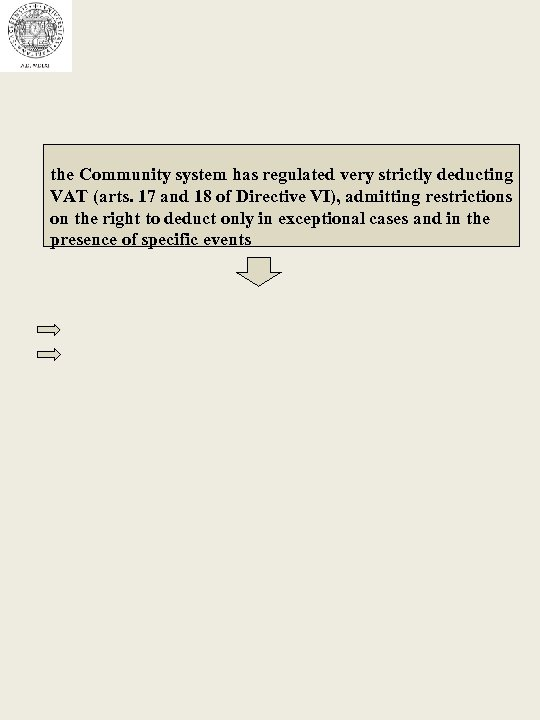 the Community system has regulated very strictly deducting VAT (arts. 17 and 18 of