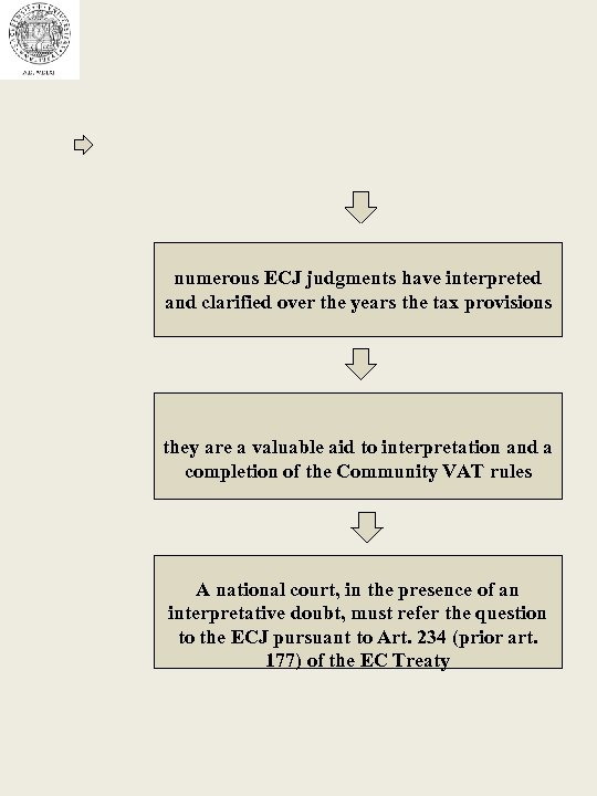 numerous ECJ judgments have interpreted and clarified over the years the tax provisions they