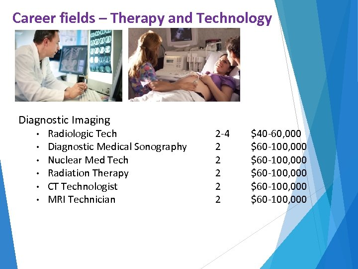 Career fields – Therapy and Technology Diagnostic Imaging • • • Radiologic Tech Diagnostic