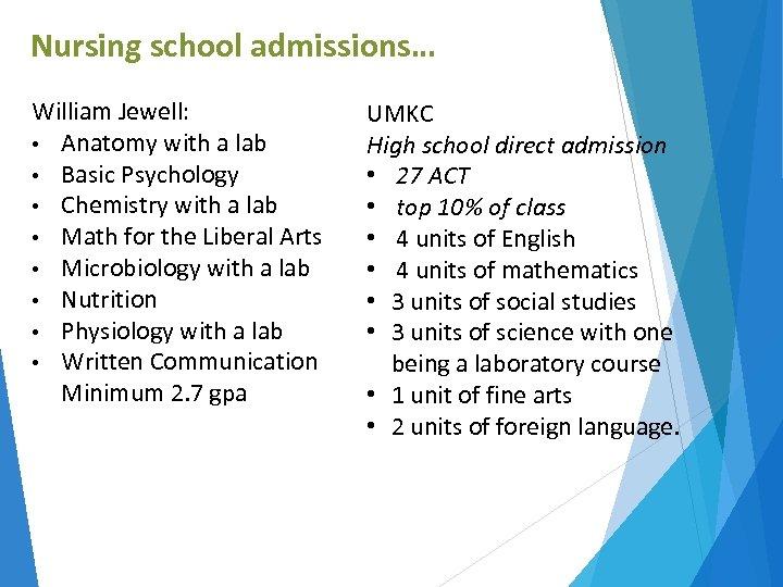 Nursing school admissions… William Jewell: • Anatomy with a lab • Basic Psychology •