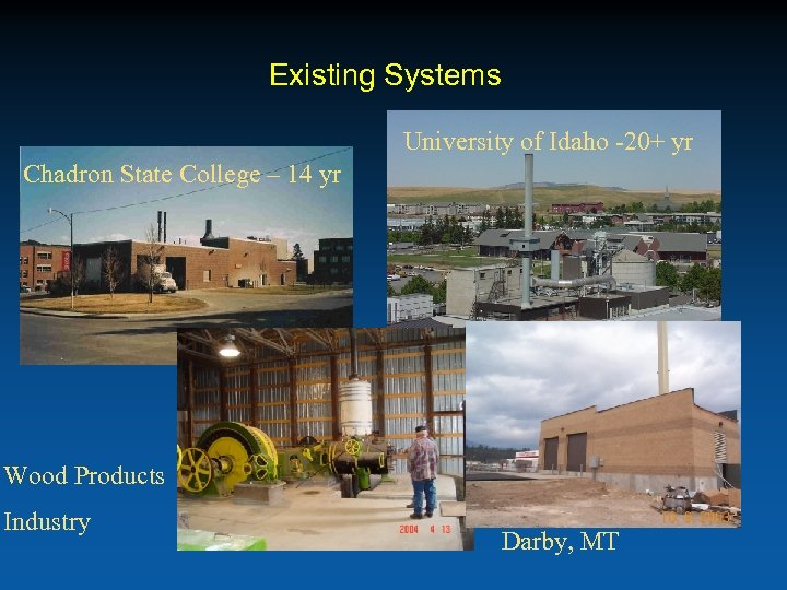 Existing Systems University of Idaho -20+ yr Chadron State College – 14 yr Wood