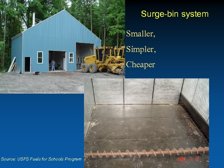 Surge-bin system Smaller, Simpler, Cheaper Source: USFS Fuels for Schools Program