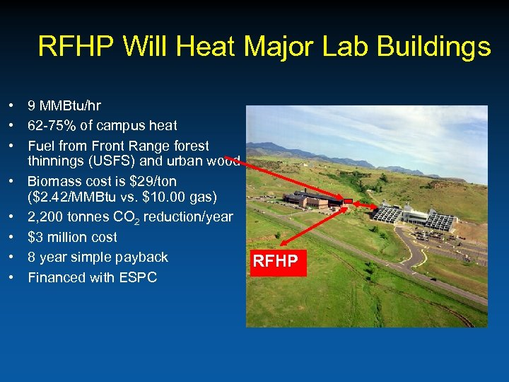 RFHP Will Heat Major Lab Buildings • 9 MMBtu/hr • 62 -75% of campus