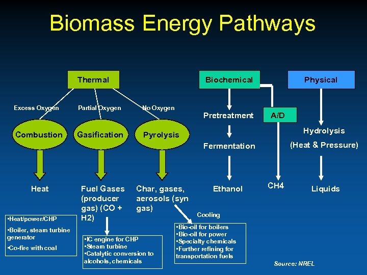 Biomass Energy Pathways Thermal Biochemical Excess Oxygen Partial Oxygen No Oxygen Combustion Gasification Physical
