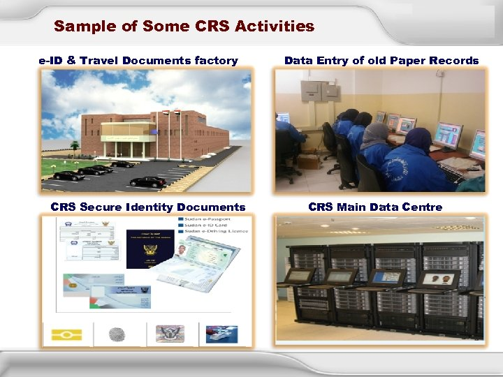 Sample of Some CRS Activities e-ID & Travel Documents factory CRS Secure Identity Documents