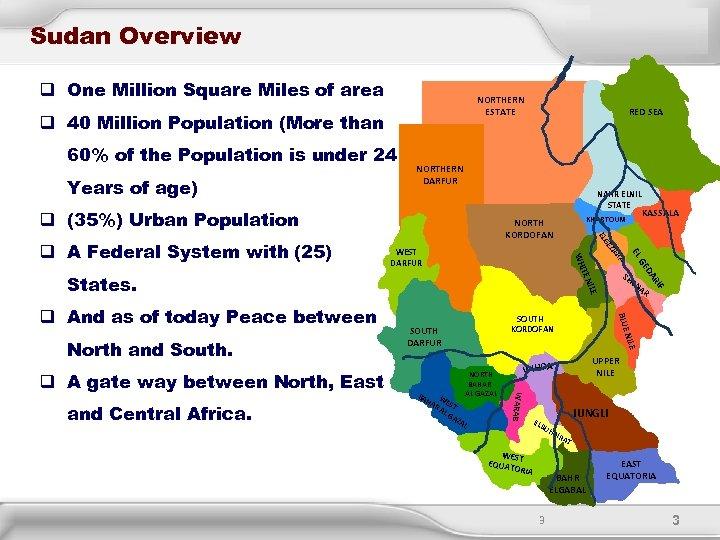 Sudan Overview q One Million Square Miles of area NORTHERN ESTATE q 40 Million