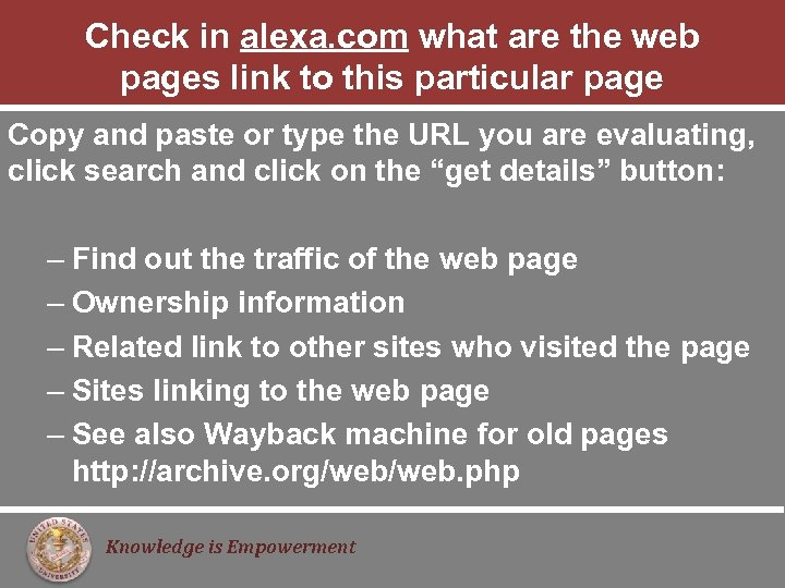 Check in alexa. com what are the web pages link to this particular page