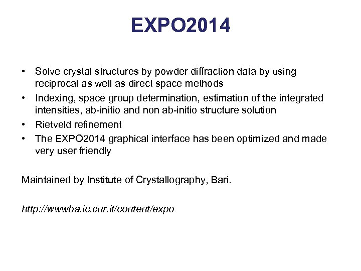 EXPO 2014 • Solve crystal structures by powder diffraction data by using reciprocal as