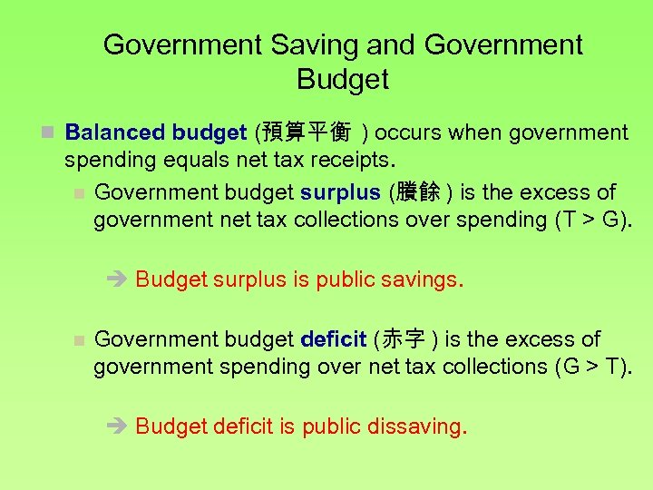 Government Saving and Government Budget n Balanced budget (預算平衡 ) occurs when government spending