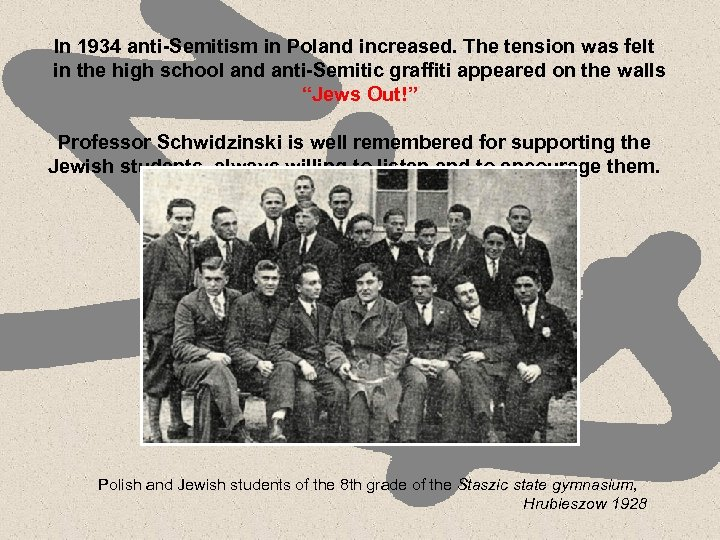 In 1934 anti-Semitism in Poland increased. The tension was felt in the high school