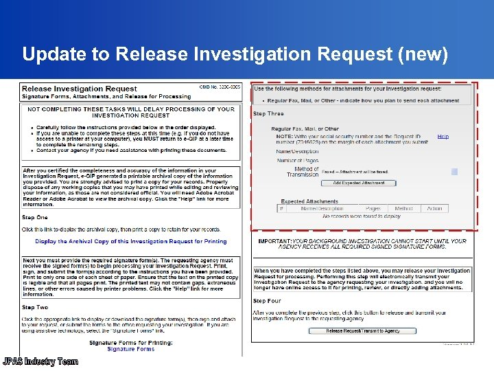 Update to Release Investigation Request (new)