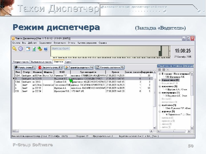 Режим диспетчера F-Group Software (Закладка «Водители» ) 50