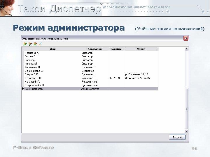 Режим администратора F-Group Software (Учётные записи пользователей) 59
