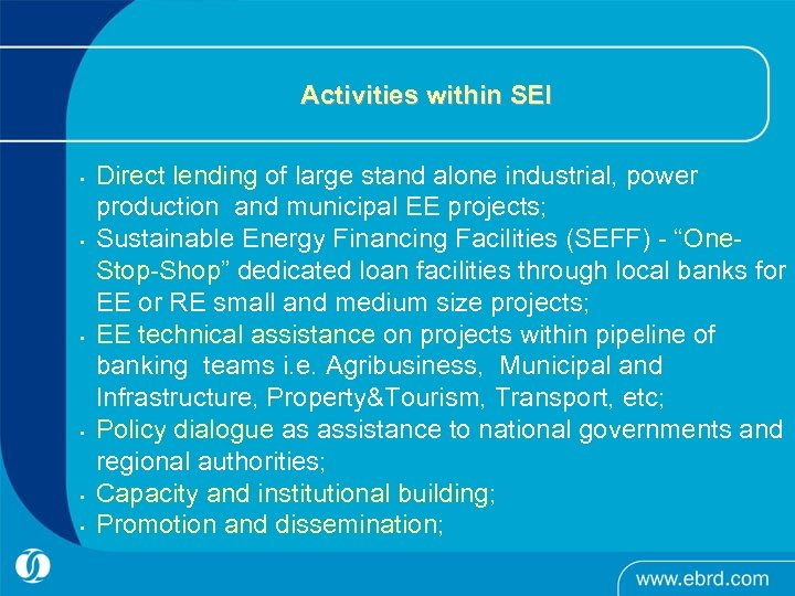 Activities within SEI • • • Direct lending of large stand alone industrial, power