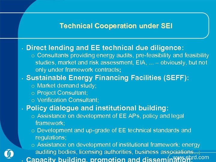 Technical Cooperation under SEI • Direct lending and EE technical due diligence: o Consultants