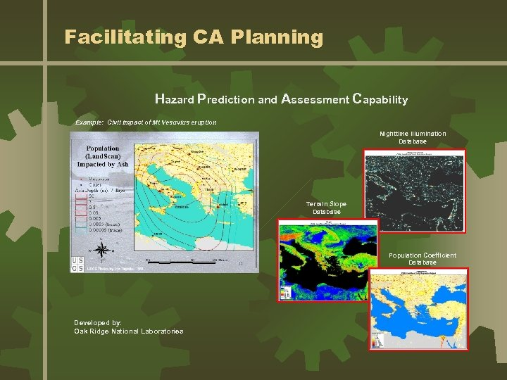 Facilitating CA Planning Hazard Prediction and Assessment Capability Example: Civil impact of Mt Vesuvius