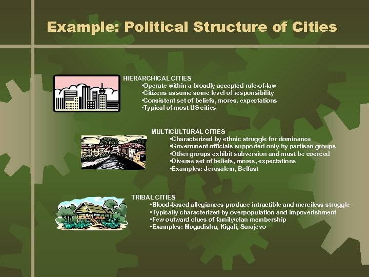 Example: Political Structure of Cities HIERARCHICAL CITIES • Operate within a broadly accepted rule-of-law