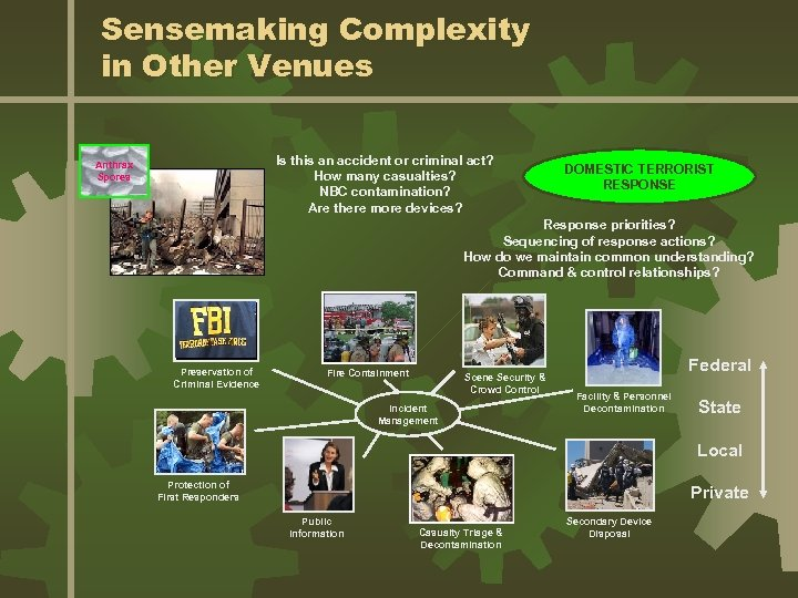 Sensemaking Complexity in Other Venues Is this an accident or criminal act? How many