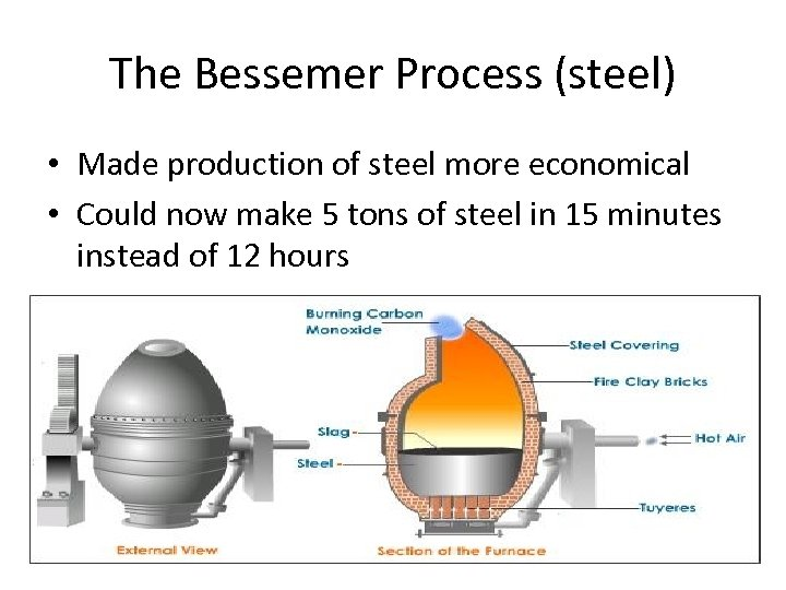 The Bessemer Process (steel) • Made production of steel more economical • Could now