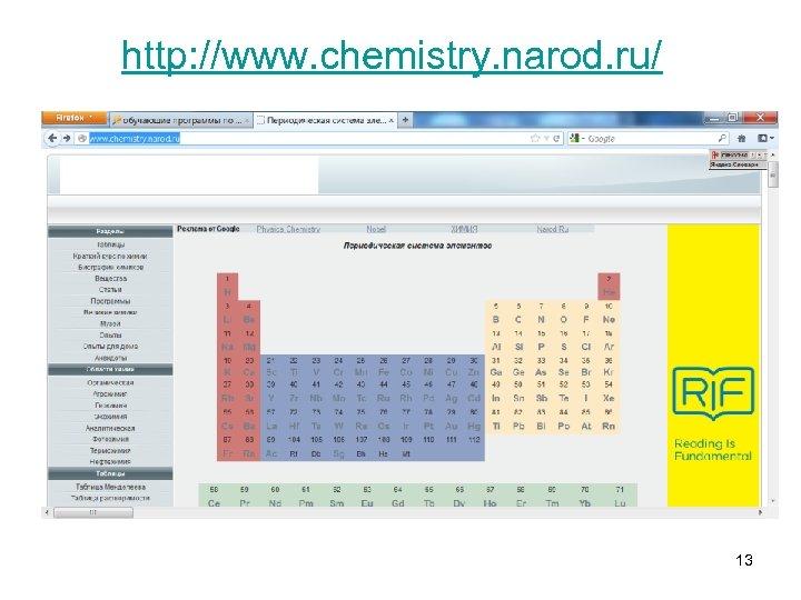 http: //www. chemistry. narod. ru/ 13