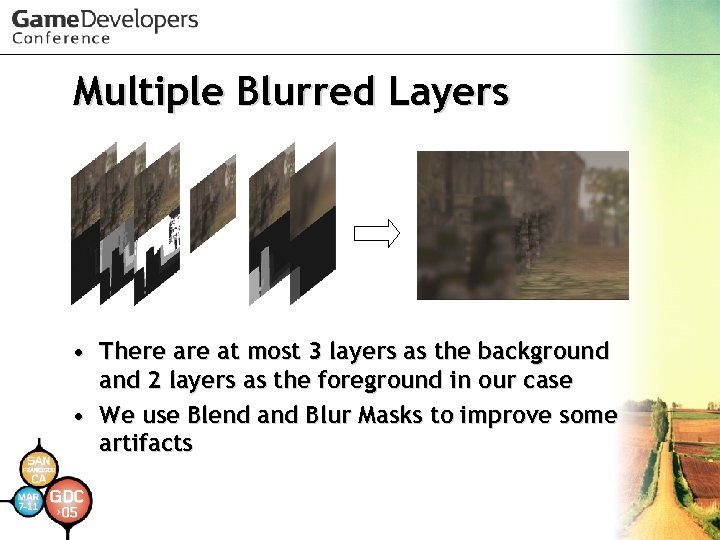 Multiple Blurred Layers • There at most 3 layers as the background and 2