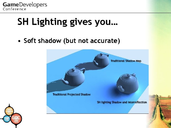 SH Lighting gives you… • Soft shadow (but not accurate)