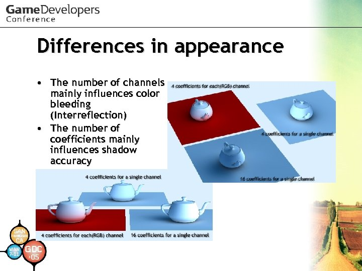 Differences in appearance • The number of channels mainly influences color bleeding (Interreflection) •